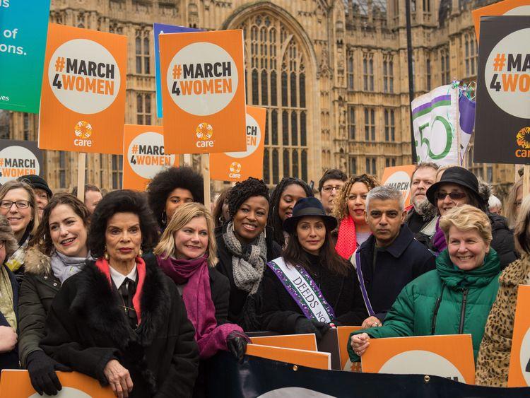Marchers including ,from third left, Bianca Jagger, Justine Greening, Natalie Imbruglia, Mayor of London Sadiq Khan and Sandi Toksvig