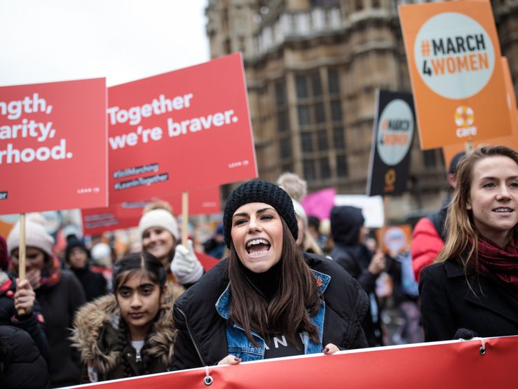 The march came ahead of International Women's Day