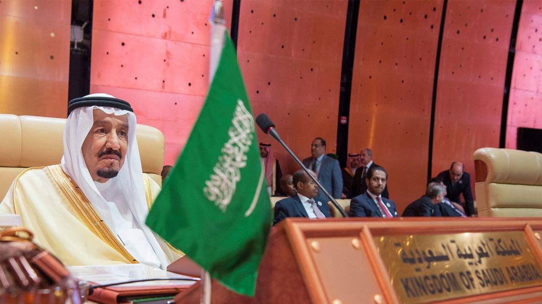 Saudi Arabia's King Salman bin Abdulaziz Al Saud attends during the opening of 29th Arab Summit in Dhahran, Saudi Arabia April 15, 2018. Bandar Algaloud/Courtesy of Saudi Royal Court