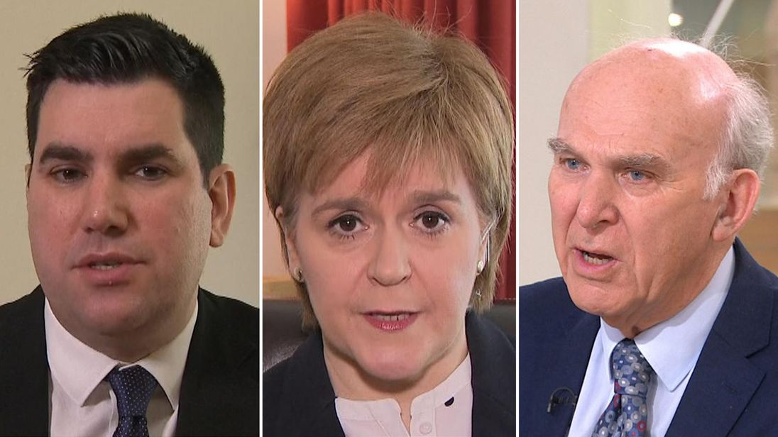 Richard Burgon (L), Nicola Sturgeon (C) and Sir Vince Cable