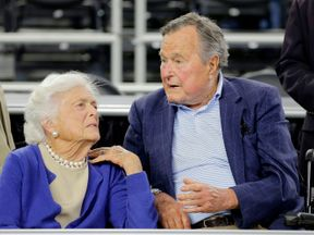 Barbara Bush and George H W Bush in 2015