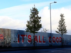 Part of the peace wall in west Belfast