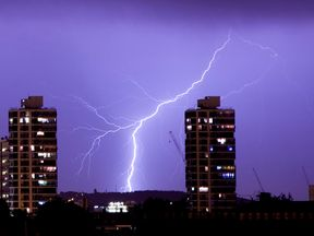 A file picture of lightning flashes in the night sky over London