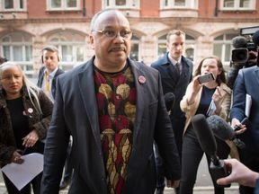Labour party activist Marc Wadsworth arrives at a Labour party disciplinary in London.