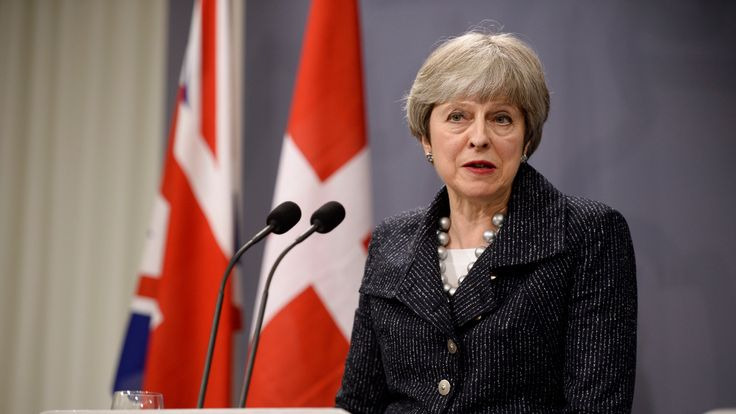 Britain's Prime Minister Theresa May speaks during a joint press conference with Danish Prime Minister following talks at Christiansborg Castle in Copenhagen, Denmark, on April 9, 2018. / AFP PHOTO / Ritzau Scanpix AND Scanpix / Mads Claus Rasmussen / Denmark OUT (Photo credit should read MADS CLAUS RASMUSSEN/AFP/Getty Images)