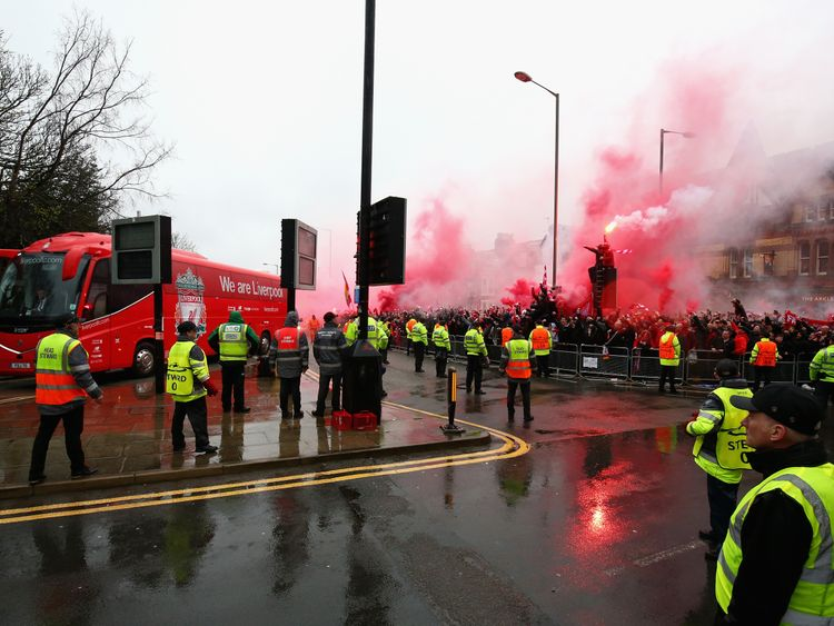 Football fans outside the stadium at Anfield