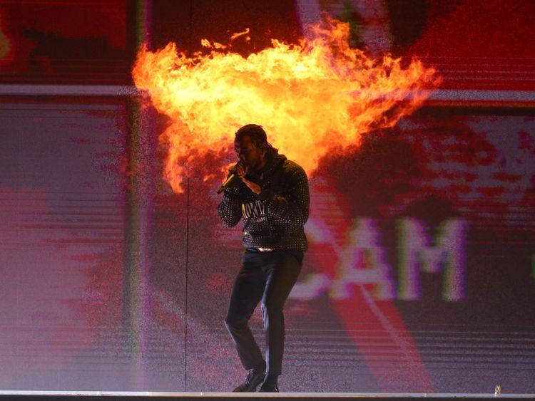 Kendrick Lamar performing at the Brit Awards in London in February