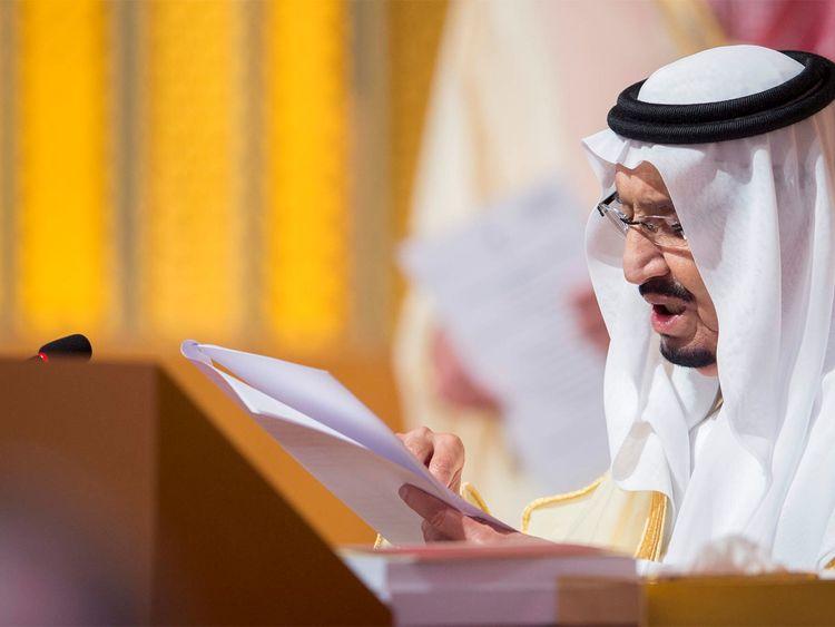Saudi Arabia's King Salman bin Abdulaziz Al Saud talks during the opening of 29th Arab Summit in Dhahran, Saudi Arabia April 15, 2018. Bandar Algaloud/Courtesy of Saudi Royal Court