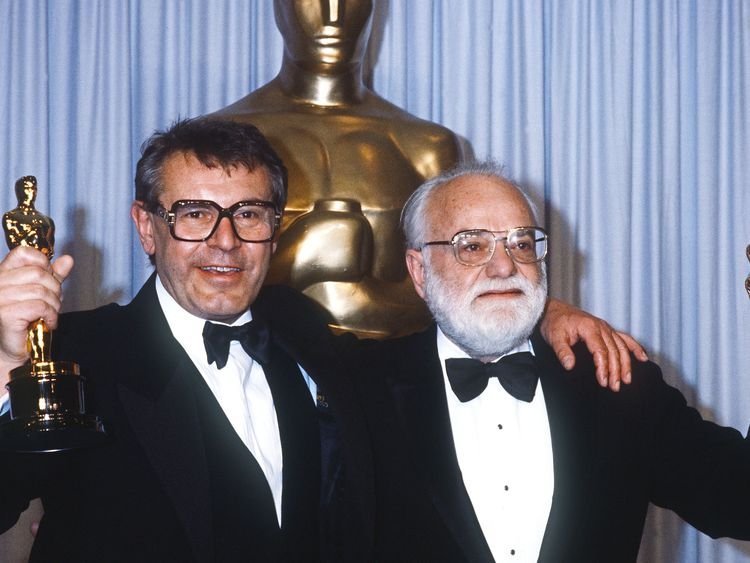 Milos Forman and Saul Zaentz, who produced Amadeus, at the Oscars in 1985