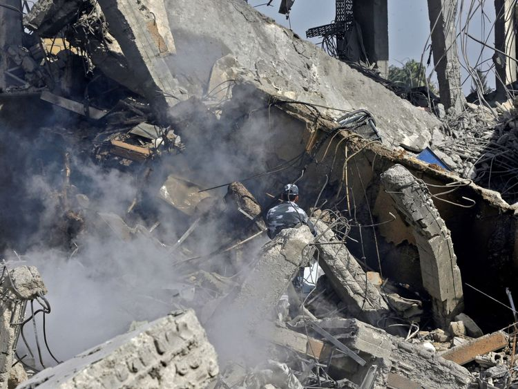 Part of the Syrian Scientific Research Centre destroyed in a strike