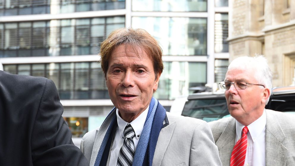 Sir Cliff arriving at the Rolls Building in London on Monday