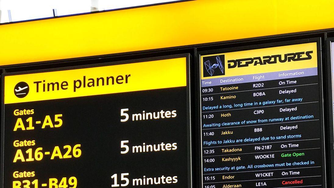 The departures board in Heathrow