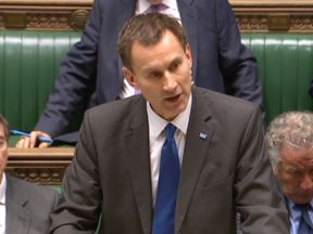 """Health Secretary Jeremy Hunt making a statement on the NHS in the House of Commons, London, as he has been accused of being """"completely out of touch"""" with the scale of the problems facing A&E departments across the country."""