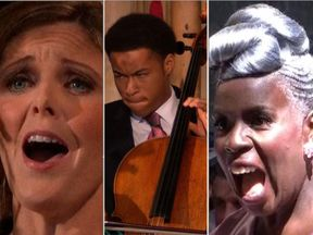 Cellist Sheku Kanneh Mason, soprano Elin Manahan Thomas and Kingdom Choir director Karen Gibson