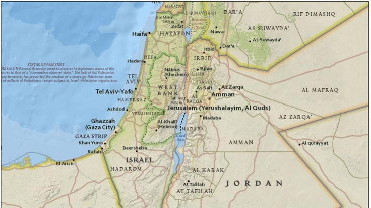 A map of the occupied Palestinian territory, showing the 1949 Armistice line. Credit: United Nations Office for the Coordination of Humanitarian Affairs