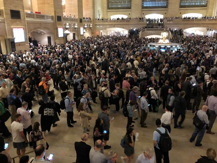 Commuters in New York City were stuck in Grand Central Terminal on Tuesday night due to the storm