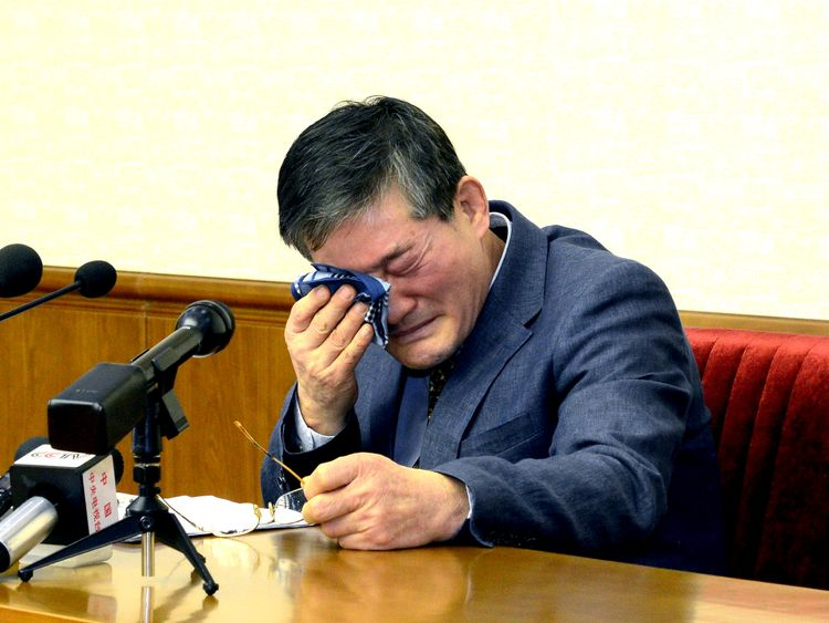 A photo of one of the men, Kim Dong Chul, issued by North Korea in 2016