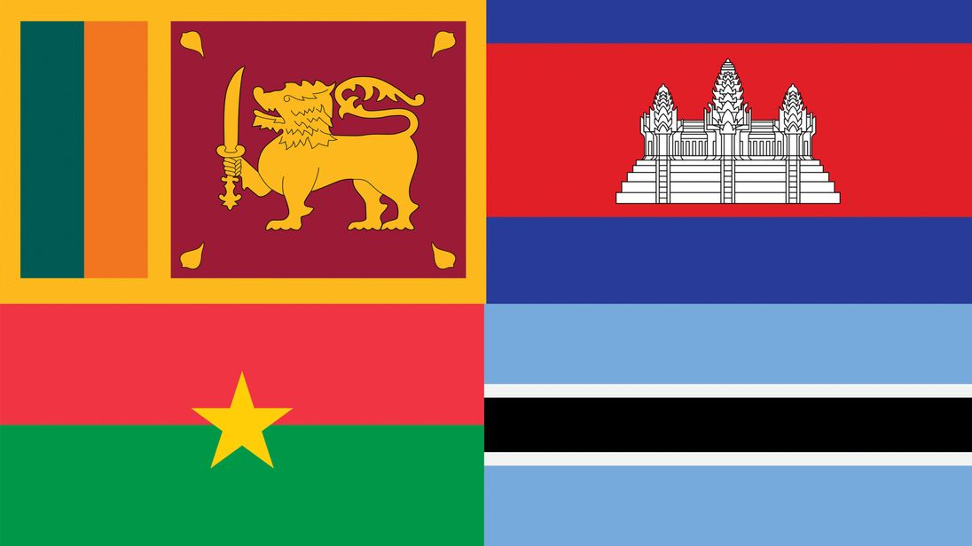 These flags represents four countries that have changed their names... but can you name them?