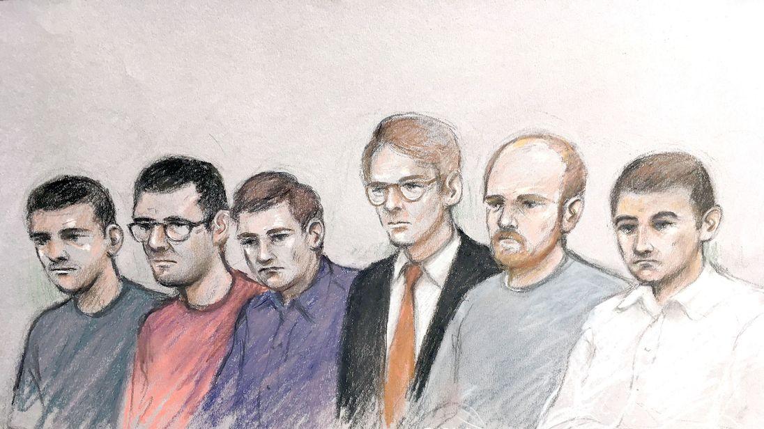 (L-R) Garron Helm, Michal Trubini, Andrew Clarke, Matthew Hankinson, Christopher Lythgoe and Jack Renshaw at the Old Bailey