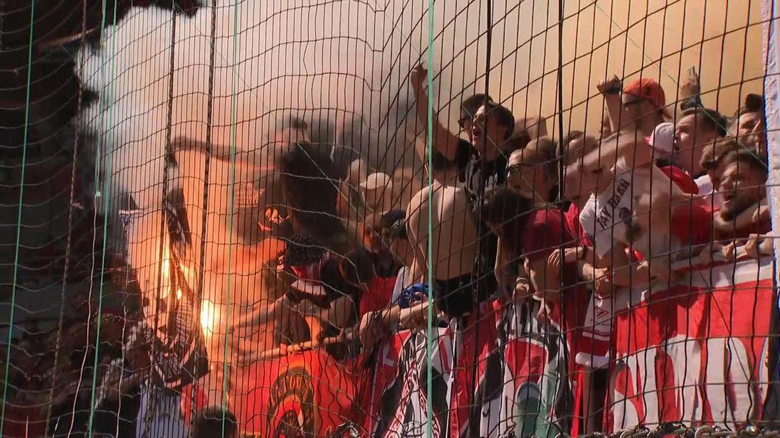 Screen still from Sky News story on Russian ultras.