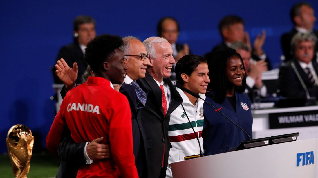 Officials supporting the joint bid of United States, Canada and Mexico