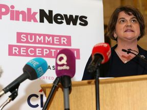 Arlene Foster speaking at an LGBT event at Stormont