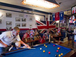 Britons pictured in a bar in the Costa Del Sol