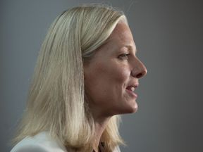Canadian Environment Minister Catherine McKenna attends a ministerial meeting hosted by Canada to push forward on the Paris climate accord on September 16, 2017 in Montreal