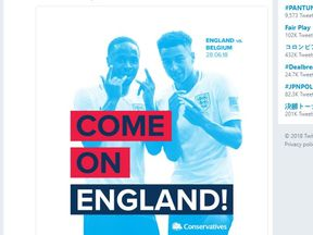 A Conservative tweet backing England ahead of their World Cup game against Belgium has been mocked for including a picture of Labour supporter Raheem Sterling