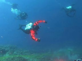 Divers on Santorini have been removing plastic waste from the Mediterranean Sea