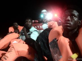 A charity rescue vessel with 629 rescued migrants on board is being refused a port after the new Italian Interior Minister Matteo Salvini refused them. Credit: MSF / SOS Mediterranee
