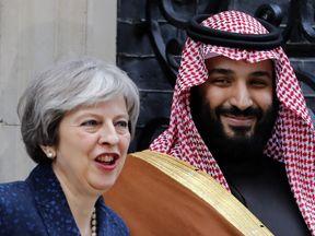 Theresa May and Mohammed bin Salman