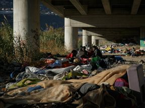 An informal camp set up by migrants under a flyover in Ventimiglia. Pic: Oxfam/Agostino Loffredi