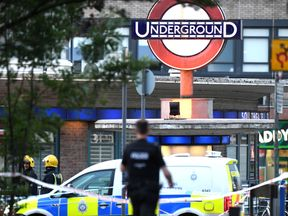 Emergency services at the scene at Southgate tube station after reports of a minor explosion