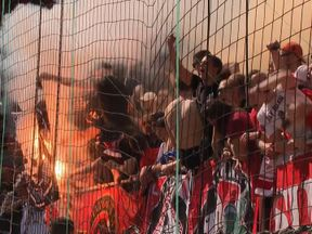 Screen still from Sky News story on Russian ultras.