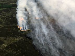 Flames burn on Saddleworth Moor. Pic: National Police Air Service/@NPAS_Barton