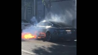 "West Wing actress Mary McCormack has shared a video of her husband's Tesla which caught fire ""out of the blue""."