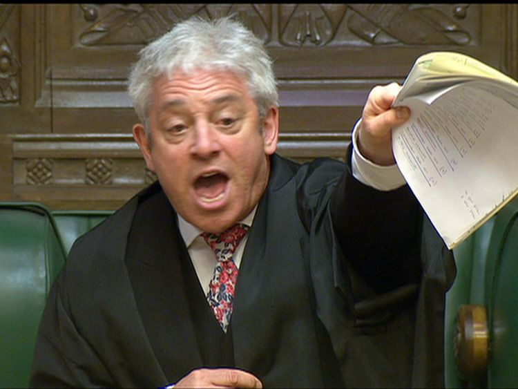 Speaker Bercow in the Commons