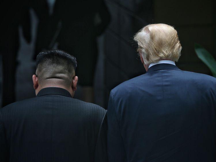 Donald Trump and Kim Jong Un at their historic summit on Sentosa Island