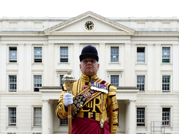 Drum Major Staite at Wellington Barracks in London, who will take part in his last Trooping the Colour on Saturday after 39 years of service in the Army