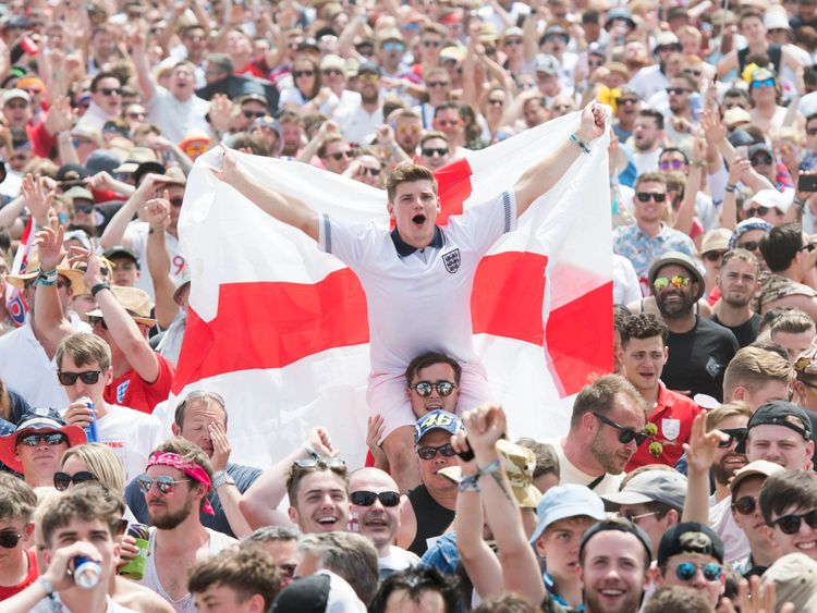 England supporters and festival goers watch England v Panama during the Isle of Wight festival at Seaclose Park, Newport. Picture by: David Jensen/PA Wire/PA Images