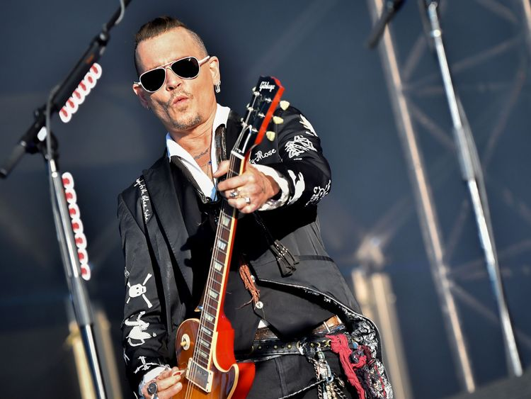 Depp performs with his band The Hollywood Vampires at the Hellfest festival in France on Friday