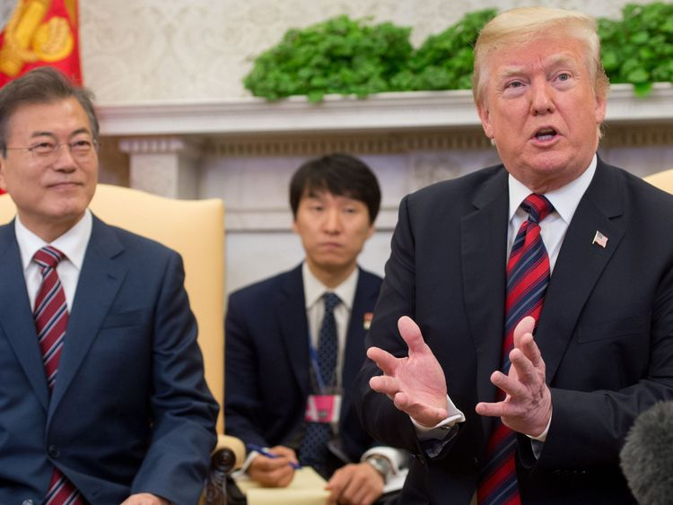 Donald Trump with South Korean President Moon Jae-in