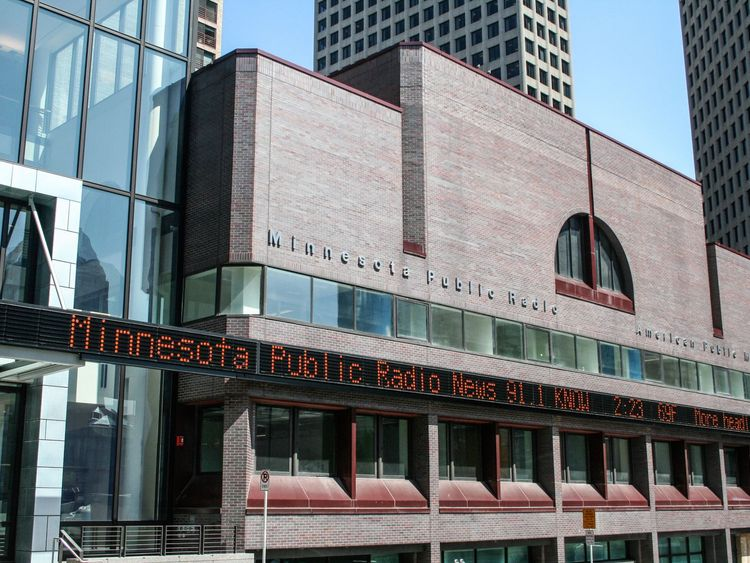 Minnesota Public Radio's building in St Paul in front of the UBS building. Pic: Tony Webster/Wiki