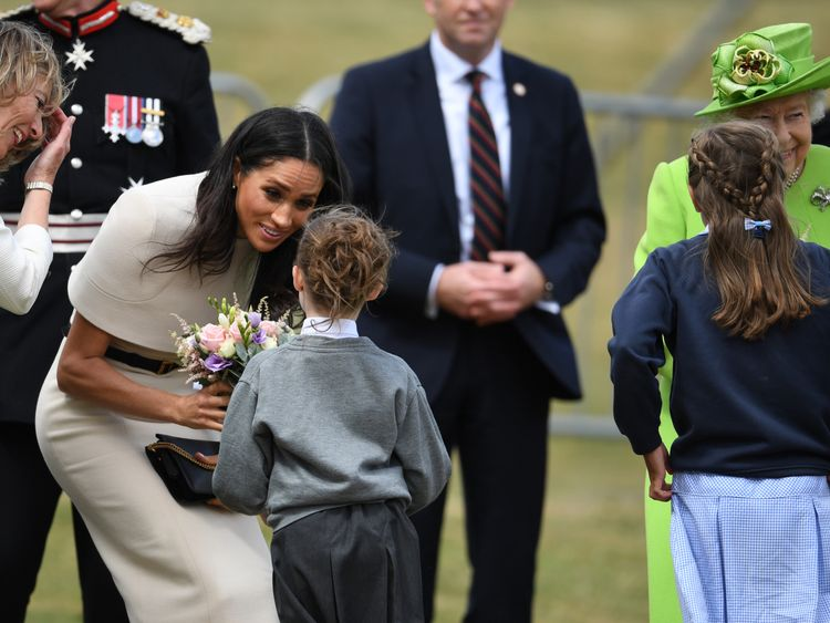Meghan was given flowers by a school pupil in Runcorn