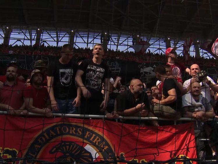 Screen still from Sky News story on Russian football hooligans.