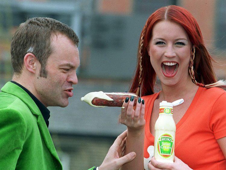 Presenters Denise Van Outen and Graham Norton helped relaunched Heinz Salad Cream in 2000