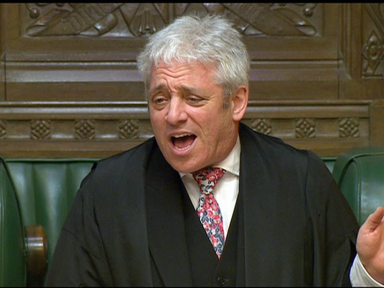 The speaker John Bercow reacts to the SNP walkout