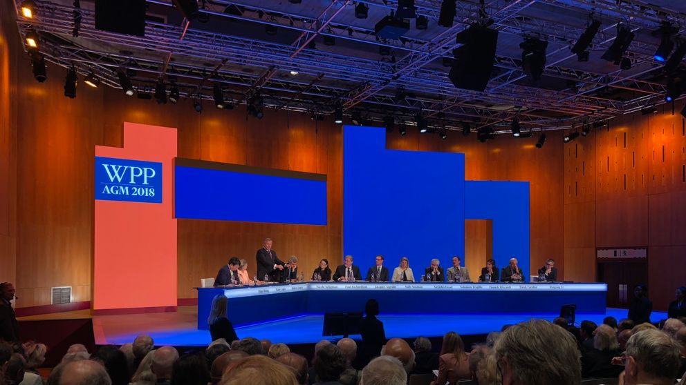 Shareholders attend the AGM of WPP