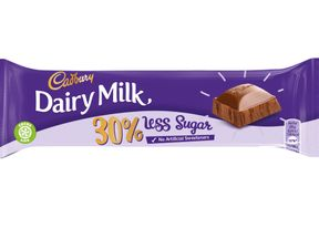 The new reduced sugar Dairy Milk bar